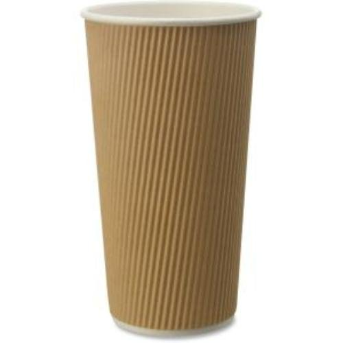 """Genuine Joe GJO11261PK Rippled Hot Cup, 20oz., 25/Pk, Brown , 25.59"""" Height, 3.54"""" width, 3.54"""" Length (Pack of 25) for sale"""