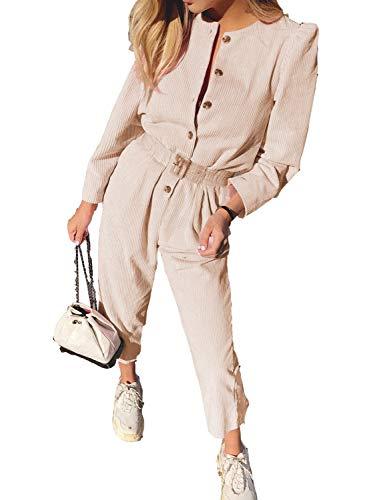 Sollinarry Women's Corduroy Long Sleeve High Waist Button Jumpsuit Long Romper Pink L