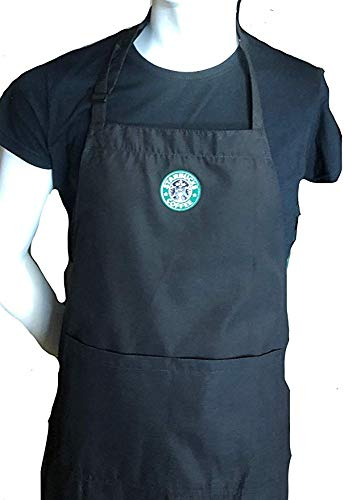Ultimate Aprons Beautiful Starbucks Green Apron Center Pocket Embroidered Logo Patch (Black Apron)