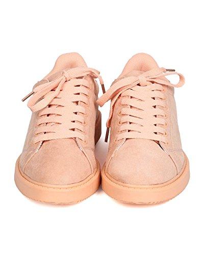 Qupid Fe91 Sneaker Allacciata In Camoscio Con Finta Pelle Scamosciata Rosa Chiaro - Rosa