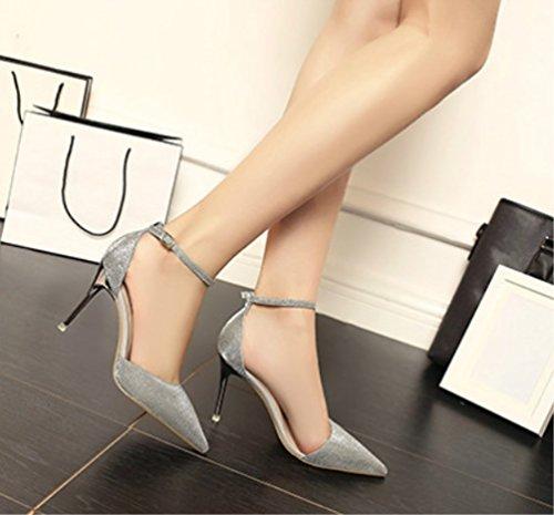 Punta Sandali Da Parola Paillettes Classic Unita Liangxie sexy Super Ladies Comfort Heels Una High Fibbia Partito Matrimonio Argento Scarpe tinta Zhhzz A Series Formale R7WX07q