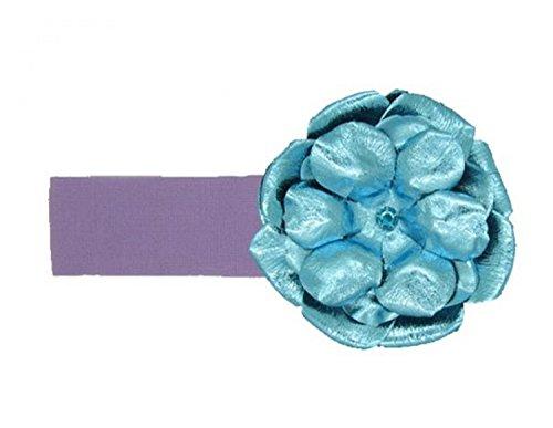 Jamie Rae Hats Lavender Soft Headband with Metallic Teal Rose, Size: 0-12m (Hats Jamie Rae Headband)