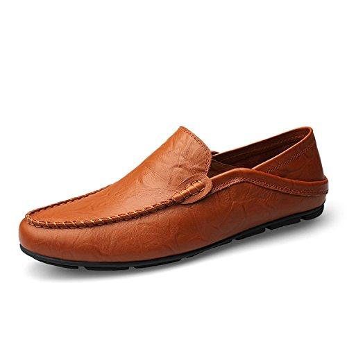 Homme Chaussures Mocassins Grande Taille Slip sur Casual Hommes Mocassins Printemps Et Automne Hommes Chaussures en Cuir Véritable Hommes Appartements Chaussures Brown FmI2PNze
