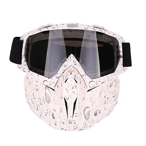 (BEESCLOVER Unique Motocross Goggles Glasses Face Dust Mask with Detachable Motorcycle Mouth Filter Pearl White)