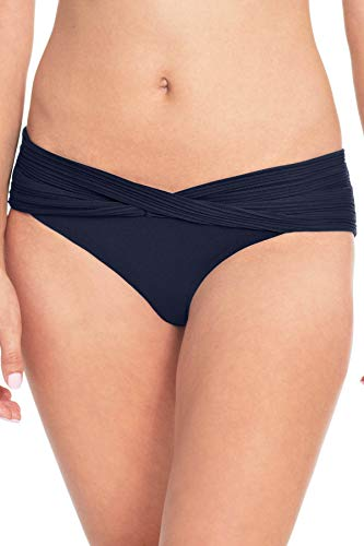 (Robin Piccone Women's Lily Sash Hipster Bikini Bottom Navy S)