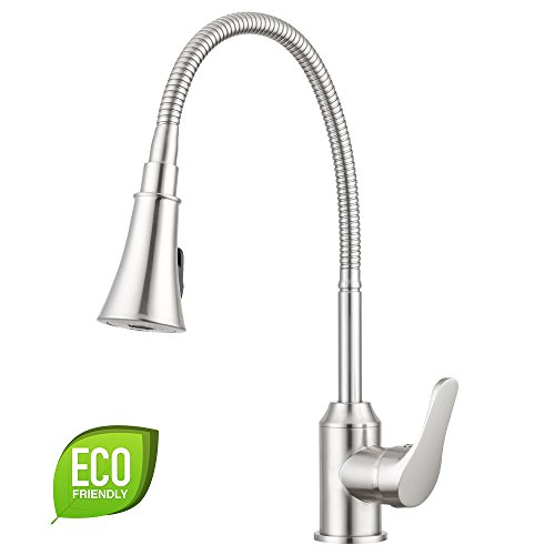 Aberdeen Kitchen Faucet by Pacific Bay with Flexible Gooseneck (Satin Nickel) - Features Single Lever Pull Down Sprayer with Multiple Sprays - Eco Friendly Water and Energy Saver - New 2018 (Aberdeen Kitchen)