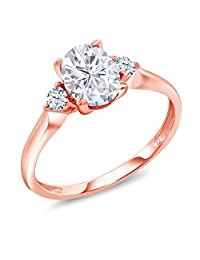 10K Rose Gold Solitaire w/Accent Stones Ring Forever Classic Oval 1.50ct (DEW) Created Moissanite by Charles & Colvard and Created Sapphire (Available in size 5,6,7,8,9)