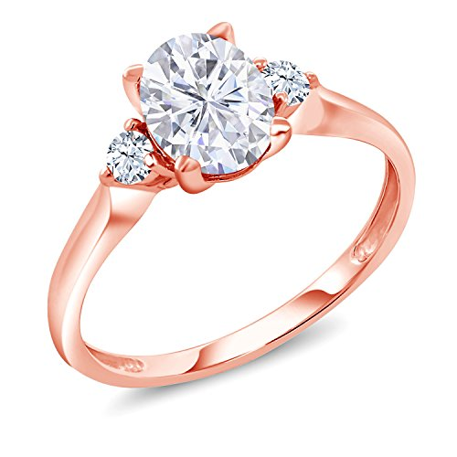 10K Rose Gold Solitaire w/Accent Stones Ring Forever Classic Oval 1.50ct (DEW) Created Moissanite by Charles & Colvard and Created Sapphire (Size 5) ()