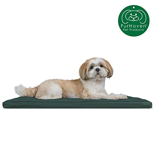 Furhaven Pet Dog Bed Kennel Pad | Reversible Two-Tone Water-Resistant Crate or Kennel Foam Mat Pet Bed for Dogs & Cats, Green/Gray Medium