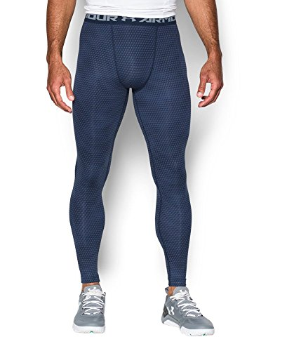 Under Armour Men's HeatGear Armour Printed Compression Leggings, Midnight Navy/Steel, Small by Under Armour (Image #2)