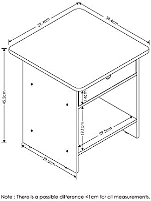 FURINNO Dario End Table//Night Stand Storage Shelf 1-Pack Espresso//Brown