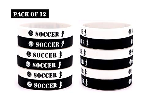 AVEC JOIE Soccer Silicone Bracelets Rubber Wristbands for Teens and Adults 12 PCS Motivational Sport Gifts Party Favors and Supplies