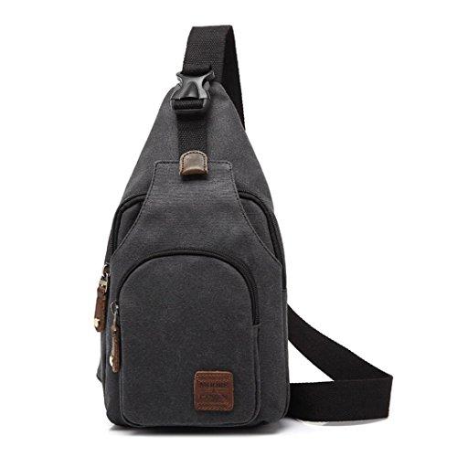 MOORE CARDEN Fashion Men¡¯s Canvas Cross body Daypack Chest Pack Sports Bag Satchel Shoulder Bag(Black)
