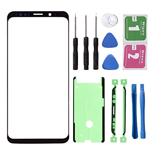(Black - Original Replacement Repair Front Top Glass Lens Cover Screen for Samsung Galaxy S8 Plus SM-G955 Mobile Phone Parts (No LCD Touch Digitizer))