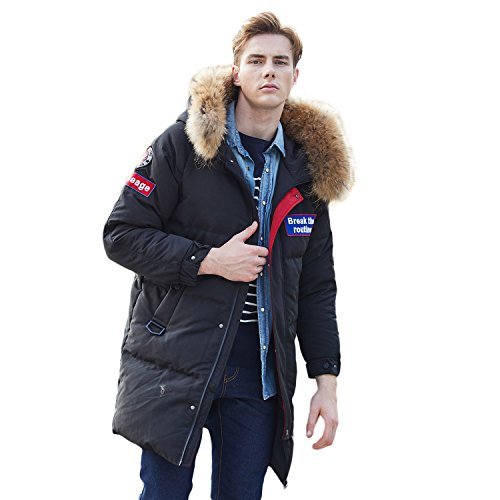 Deep Winter Parka - BOSIDENG Men's Goose Down Jacket Harsh Deep Winter Real Fur Resist -30℃ X-Long Parka Down Coat (180/96A, 8056)