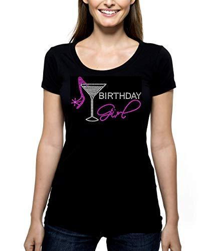 Birthday Girl Martini RHINESTONE T-Shirt Shirt Tee Bling - Pick Rhinestone Color - bling shoe high heels pumps group party gal - Pick Shirt Style - Scoop Neck V-Neck Crew Neck