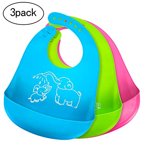 (Bonim Baby Bibs for Boys Girls Waterproof Silicone Bib with Pocket Toddler, Set of 3 Colors)