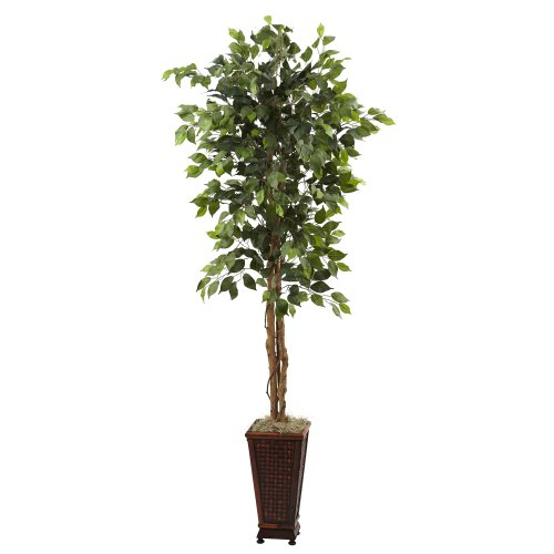 Nearly Natural 5925 6.5-Feet Ficus with Decorative Planter, Green by Nearly Natural