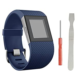 Replacement Band for Fitbit Surge, BeneStellar Newest TPU Bracelet Strap Small&Large Replacement Band for Fitbit Surge Watch Fitness Tracker WatchBand Wristband Accessories (Blue, Large(6.3