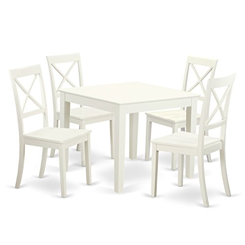 East West Furniture OXBO5-LWH-W 5Piece Small Kitchen Table Set & 4 Hardwood Dining Chairs. Oxford in Linen White Finish