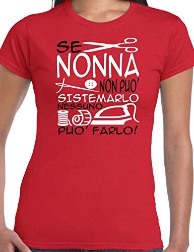 Wixsoo Maglietta Donna Nonna Rosso