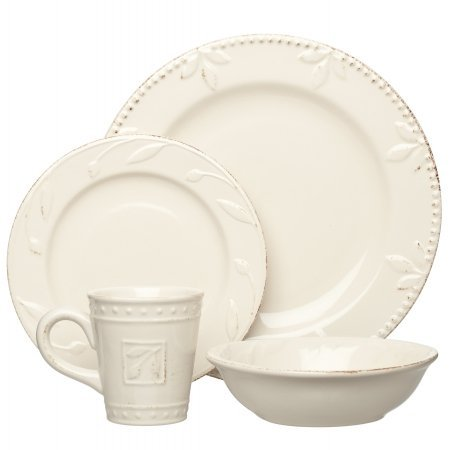 Signature Housewares Sorrento Collection Stoneware 4-Piece Dinnerware Set, Ivory Antiqued Finish image