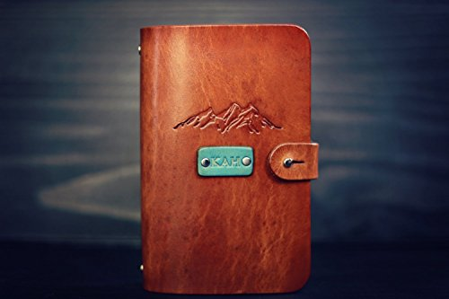 (Personalized Leather Journal, Notebook, Travel Diary, Sketchbook,wanderlust,Mountains, Custom name or initials, 6 ring sturdy metal binder with refillable lined paper)