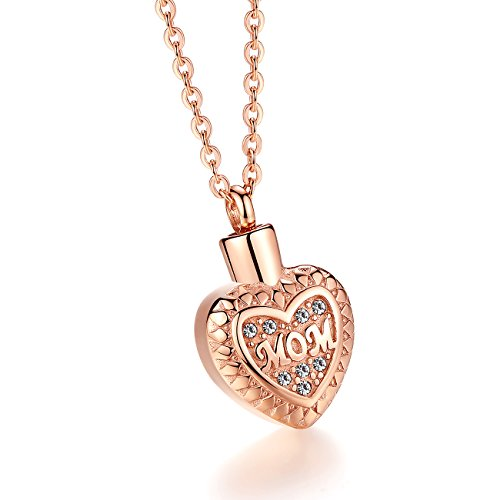 Molike Stainless Steel Mom in Heart Cremation Necklace Ashes Urn Memorial Pendant Jewelry for Women Girl