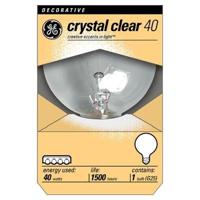 GE 12980-6 40 Watt Globe G25 Light Bulb, Crystal Clear, 18-Pack