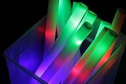 100 Pack - Multicolor LED Foam Sticks Glow Batons - 3 Modes...