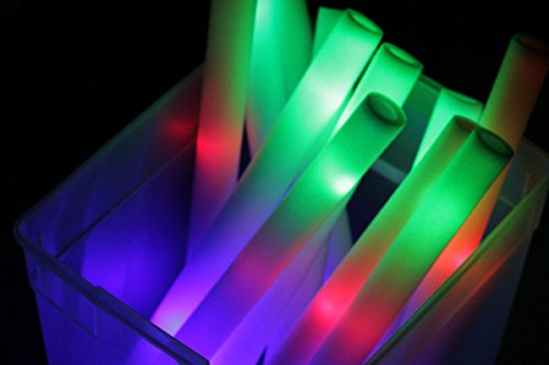 "100 Pack - Multicolor LED Foam Sticks Glow Batons - 3 Modes - 18"" - Great for Weddings & Parties"