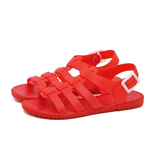 Yehopere Women's Jelly Sandals T-Strap Slingback Flats Casual Summer Beach Rain Shoes ()