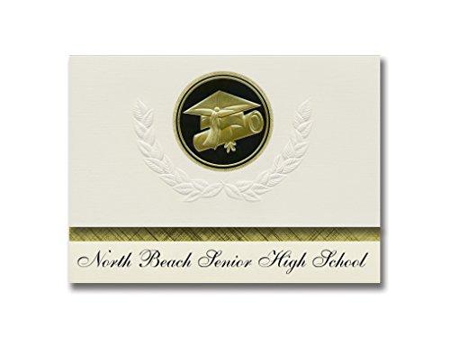 Signature Announcements North Beach Senior High School (Ocean Shores, WA) Graduation Announcements, Presidential Elite Pack 25 Cap & Diploma Seal Black & Gold