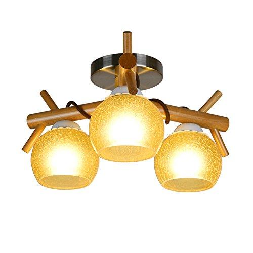 (FRTEJ Ceiling Lamp Handmade Solid Wood Chandelier Creative Yellow Crack Glass Lamp Personality Bedroom Restaurant Ceiling Lights New Retro Industrial Veranda Corridor Real Wood Lighting Lamp, 3 head)