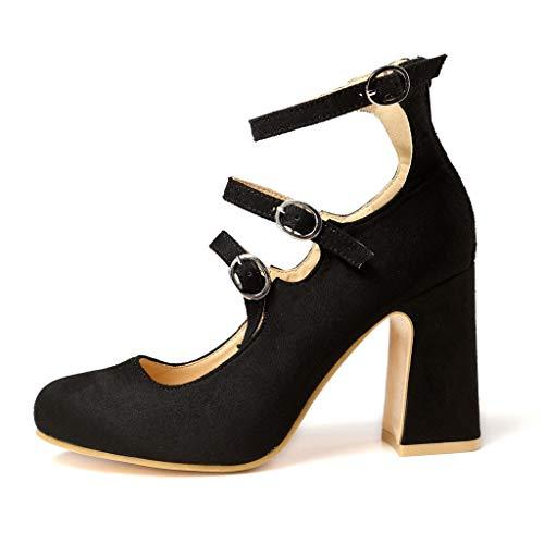 Negro 3 8cm Donna 1 Rosso Sandali Serie Colore Comodi Moda estate Tacco Partito Regolabile Banchetto Sexy Eleganti Con Shopping Fermaglio Rosse Solido Scarpe Spesso wCqPw8g
