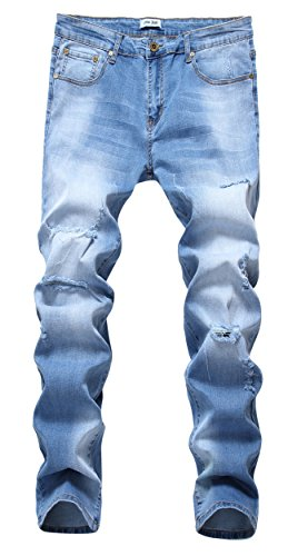 FEESON Men's Ripped Slim Fit Straight Denim Jeans Vintage Style with Broken Holes 06 (Old Navy Loose Fit Jeans)