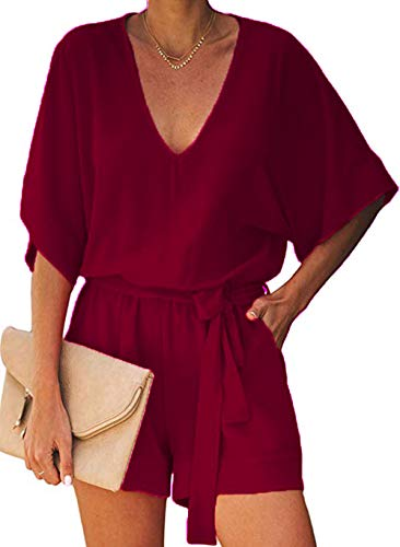NUOREEL Women's Casual High Waist Self Tie Belt Romper Short Bell Sleeve One Piece Jumpsuit (Purple Red, Large) ()