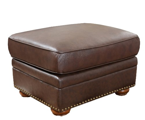Palazzo Leather - Abbyson Palaza Italian Leather Ottoman, Brown