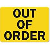 """SmartSign Magnetic Sign, Legend """"Out of Order"""", 7"""" high x 10"""" wide, Black on Yellow"""