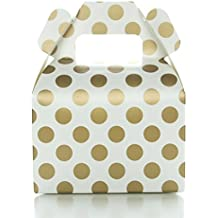 Party Favor Candy Boxes, Gold Polka Dot (12 Pack) - Candy Buffet Treat Boxes, Wedding Dessert Table Supplies, Small Birthday Gift Box