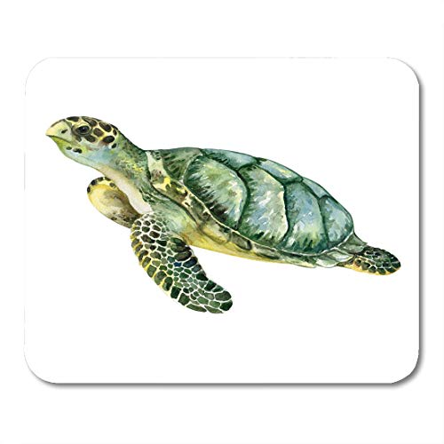 Tortoise Shell Paint - Emvency Mouse Pads Tortoise Sea Green Turtle Watercolor Animal Beach Ocean Sketch Mouse pad 9.5