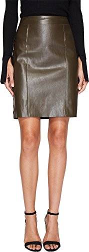 Bishop & Young Women's Side Stitch Pencil Skirt Brown Small (Zip Skirt Side Leather)