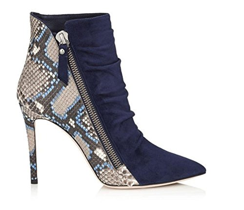 GAIHU Ladies Ankle Boot stiletto heel shoes suede wrinkles in the case of Winter Serpentine Blue Pointed Black UaZH5J0B