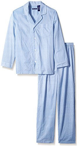Fruit of the Loom Men's Long Sleeve Broadcloth Pajama Set, Royal, ()