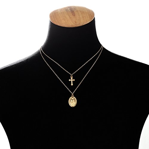 Dolland Bohemian Retro Multi-layered Virgin Mary Cross Pendant Clavicle (Gold Overlay Crucifix)