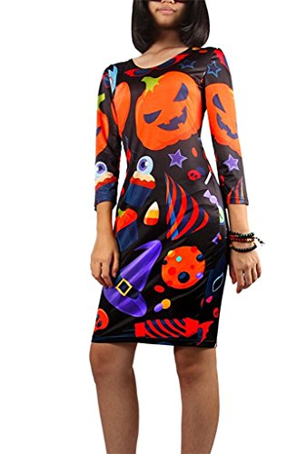 Tobyak Women's Happy Halloween Party Print Long Sleeve Mini Short Dress Multicolored2X-Large popular