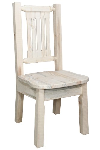 Montana Woodworks Homestead Collection Dining Side Chair with Ergonomic Wooden (Unfinished Wood Finish Chair)