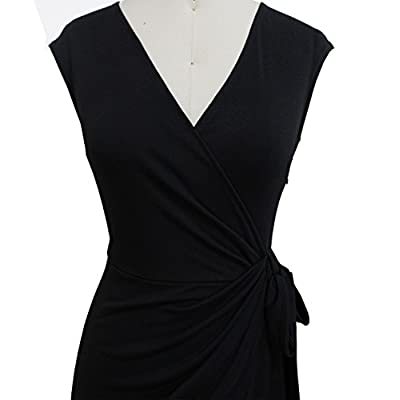 Berydress Women's Vintage V-Neck Sheath Casual Party Work Faux Black Wrap Dress at Women's Clothing store