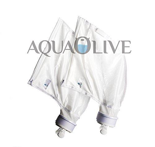 AquaOlive - 2 Pack (Zipper), Durable All Purpose Pool Filter Replacement Bag. Fits Polaris 280 480 Part K13,K16, Large Over-Sized Bag with Strong Cross Stitching and Fine Filter Mesh