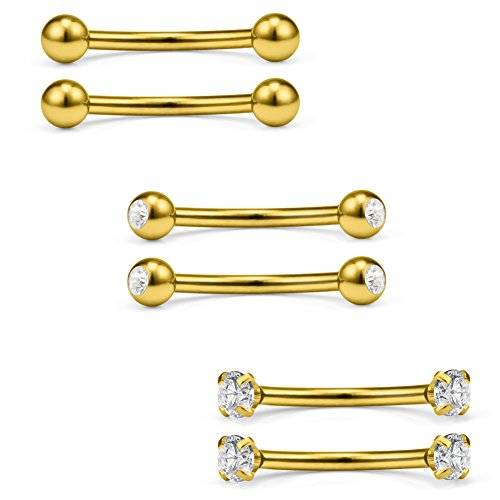 (Ruifan 3 Pairs 16G Clear CZ Ball Curved Barbell Eyebrow Belly Lip Tragus Ring Piercing Jewelry 3/8